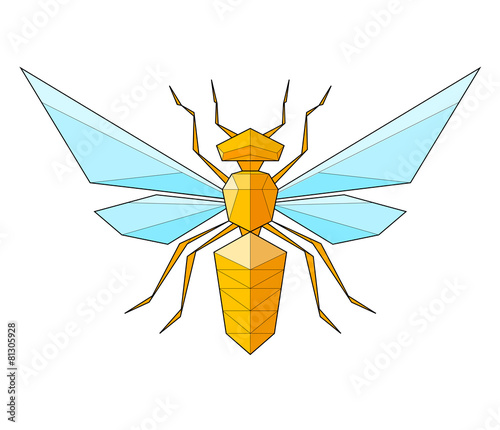 Wasp. Low polygon linear vector illustration - 81305928