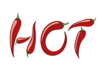 Word HOT assembled from red peppers