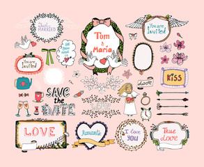 Hand drawn design elements for wedding invitations decor