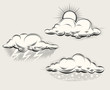 Engraving weather. Sun behind cloud, rain and lightning - 81306731