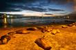 Leinwanddruck Bild - Beautiful sea lions sleeping along the port in San Cristobal