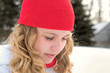 teenage girl with winter knit cap