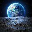 Leinwanddruck Bild - blue earth view from moon surface - Usa