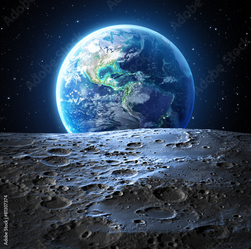 Leinwanddruck Bild blue earth view from moon surface - Usa