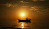 Fototapety Fishing Boat and Fisher
