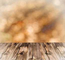 Empty table with blur landscape background