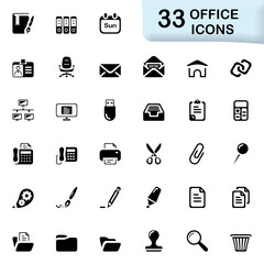 33 black office icons