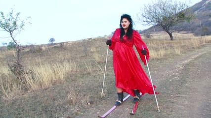 Crazy Woman In Skis At Steppe Zone