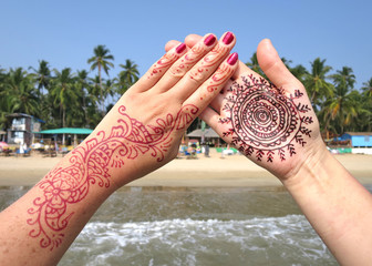 Henna tattoo on the hand. Palolem beach of South Goa, India