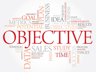 Objective word cloud, business concept