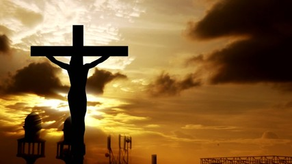 silhouette jesus on the cross 1