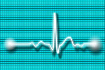 Cardiogram wave on blurred background