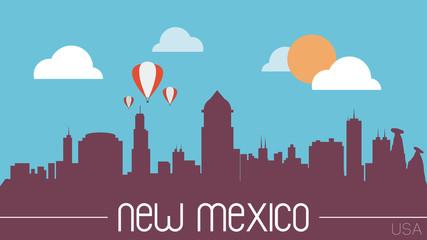 New Mexico USA skyline silhouette flat design vector