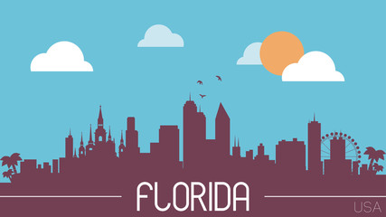 Florida USA skyline silhouette vector illustration