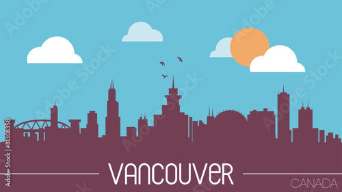 Vancouver Canada skyline silhouette vector illustration