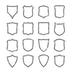 Big set of blank, grunge, classic shields.
