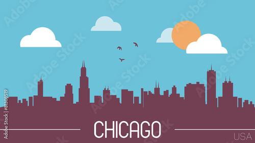Chicago USA skyline silhouette flat design vector
