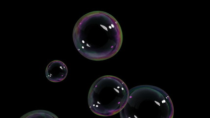 Beautiful Air Bubbles rising on black background. HD 1080.