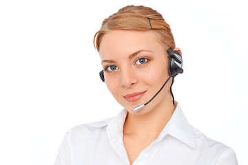 Support phone operator blond girl