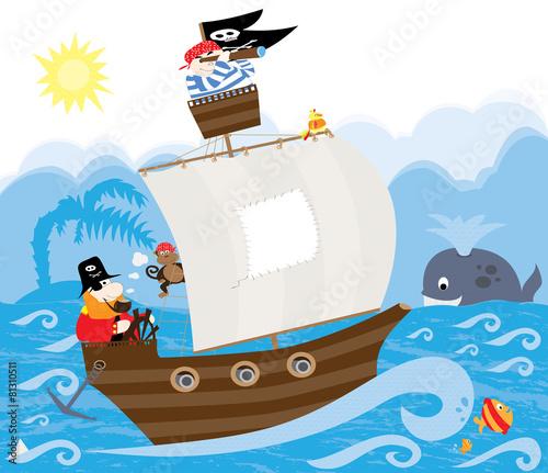piraci, statek piracki, morze i wieloryb - białym tle