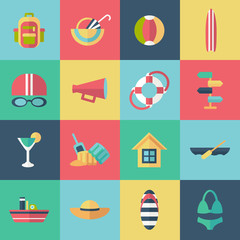Set of flat summer icons with shadow