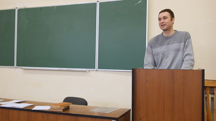 lecturer gives a lecture