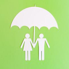 Paper Cut Symbols - Couple under Umbrella