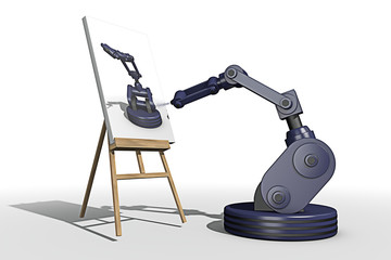 Zelfportret van een schilderende robot