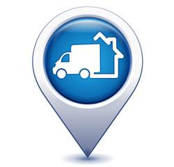 livraison à domicile sur marqueur géolocalisation bleu