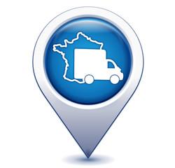 livraison en france sur marqueur géolocalisation bleu