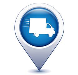 livraison rapide sur marqueur géolocalisation bleu