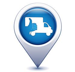 livraison sur marqueur géolocalisation bleu