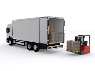 Lastwagen wird beladen