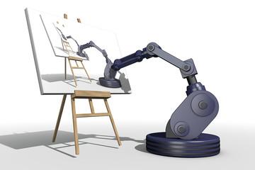 Reproductie van een kunst door een robot