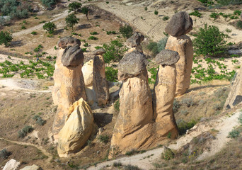 Volcanic mountains in Goreme national park. Cappadocia. Turkey.