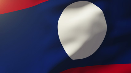 Laos flag waving in the wind. Looping sun rises style