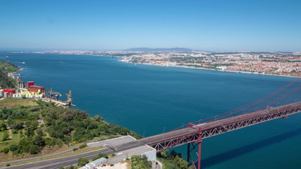 25th of April Suspension Bridge over the Tagus river, connecting