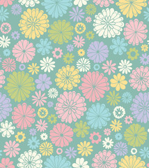 Floral seamless pattern in retro style.