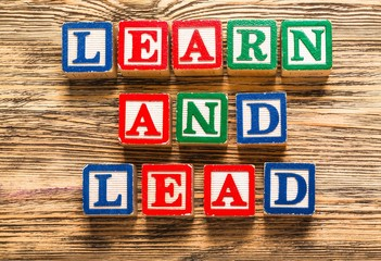 Mentoring. Learn and Lead text on a wooden background
