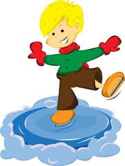 Ice skating boy. Vector cartoon illustration.