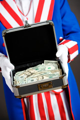 Patriotic: Holding Safe Box Full Of Money