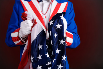 Patriotic: Holding An American Flag