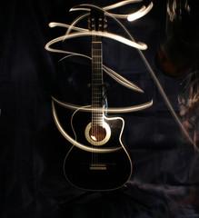 Acoustic guitar under high exposure light .