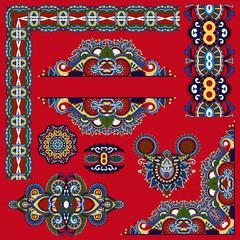 set of paisley floral design elements for page decoration