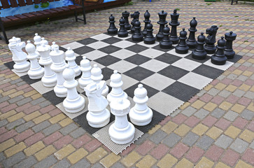 Large chess pieces in the park