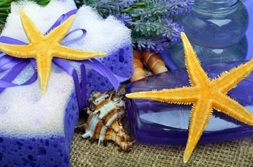 Spa concept, lavender flowers with liquid soap, bathroom accesso
