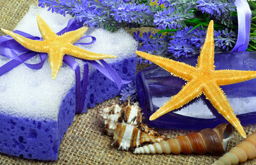 Spa concept, lavender flowers with liquid soap, bathroom access