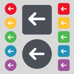 Arrow left, Way out icon sign. A set of 12 colored buttons. Flat