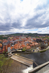 River and aerial view of city of Cesky Krumlov
