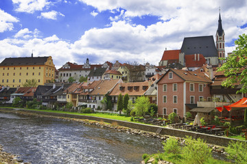 River quay and skyline of city of Cesky Krumlov